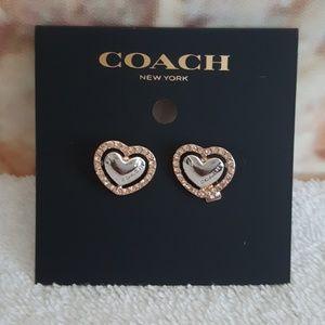 New Coach Pearl Heart Halo Stud Earrings